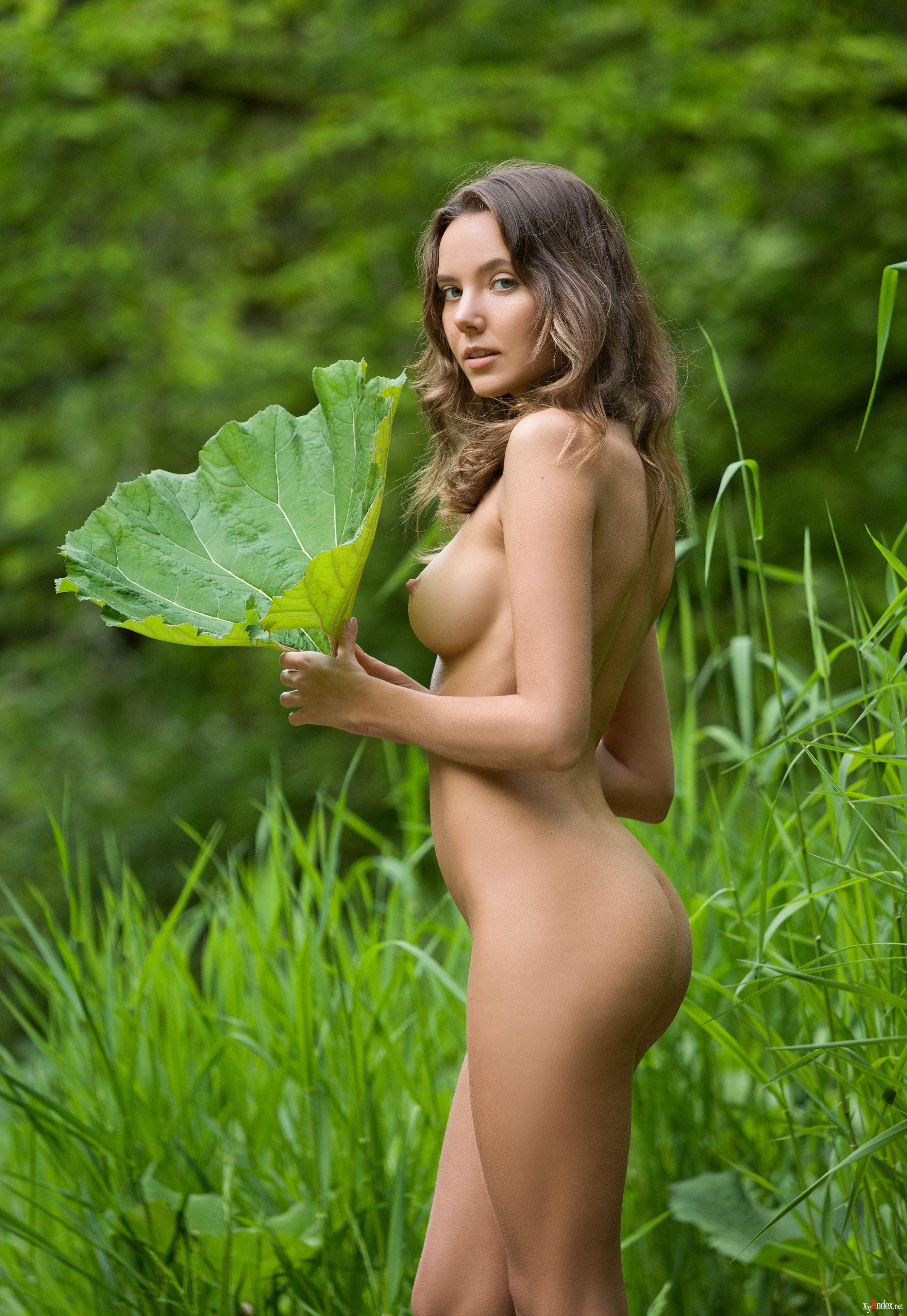 Соблазнительная шатенка разделась посреди зеленых кустов
