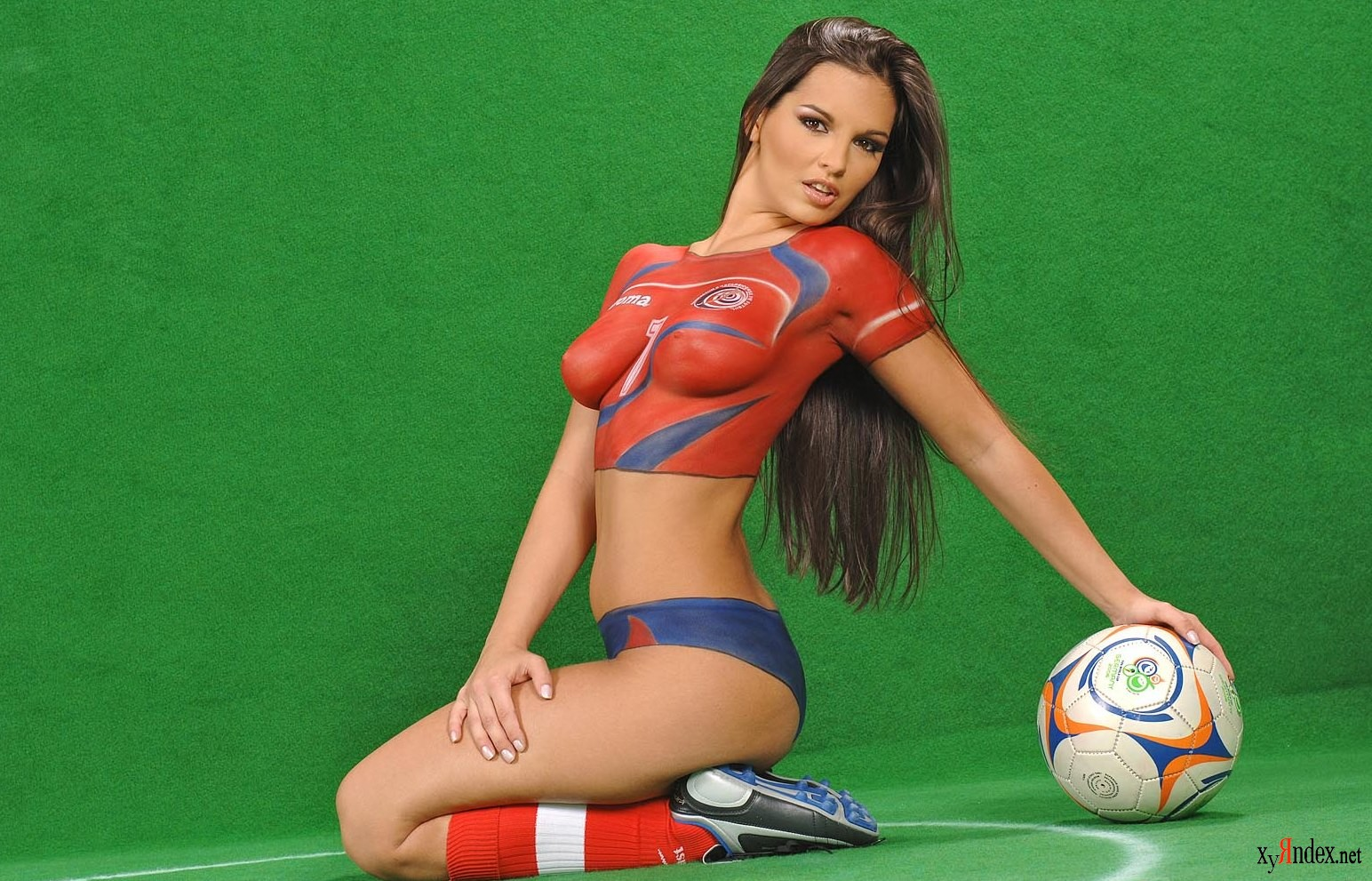 Two sexy girls playing photo games and a soccer field with stadium sea clipart cartoons by vectortoons