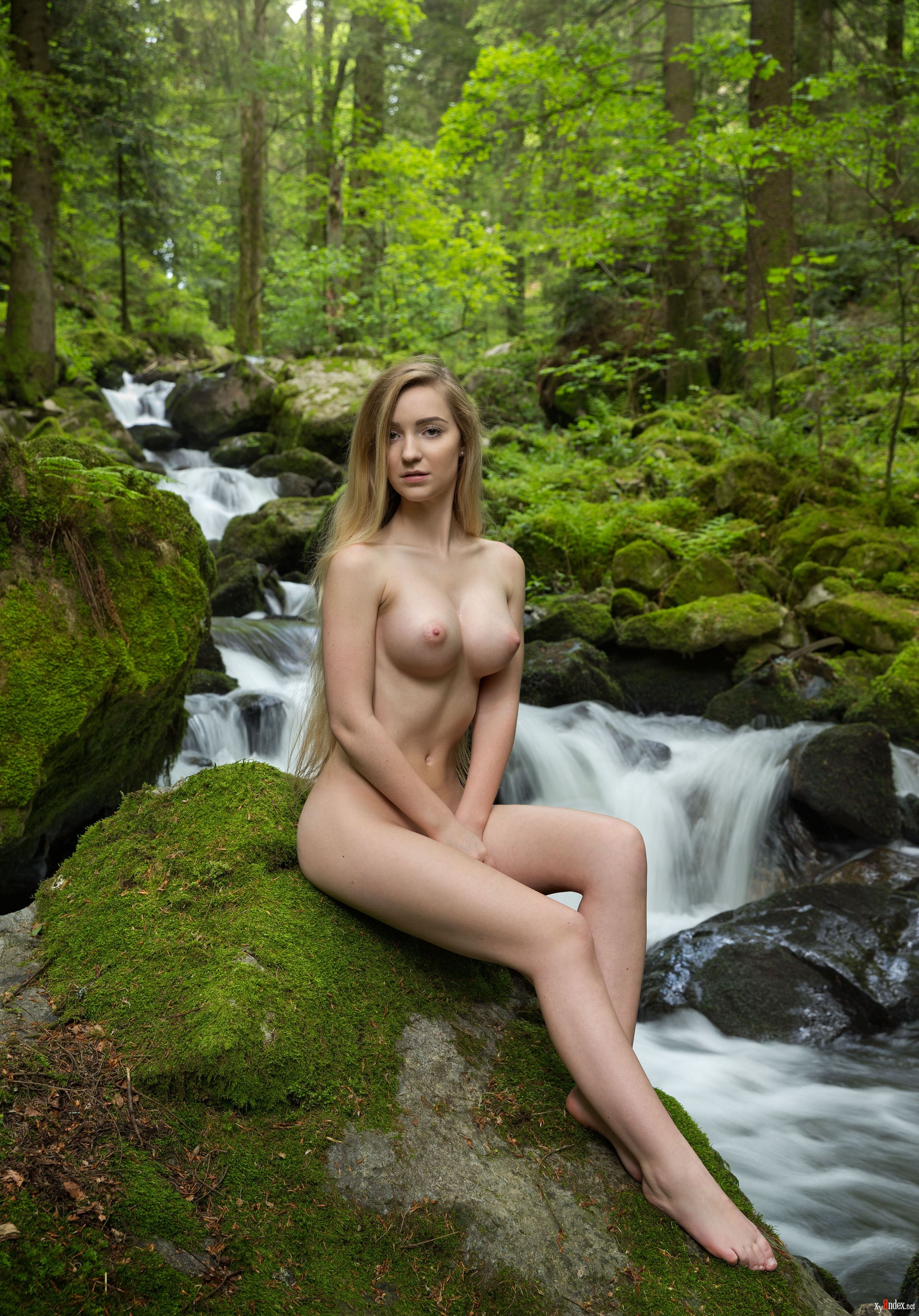 Perfect tits erotic blonde nymph in white