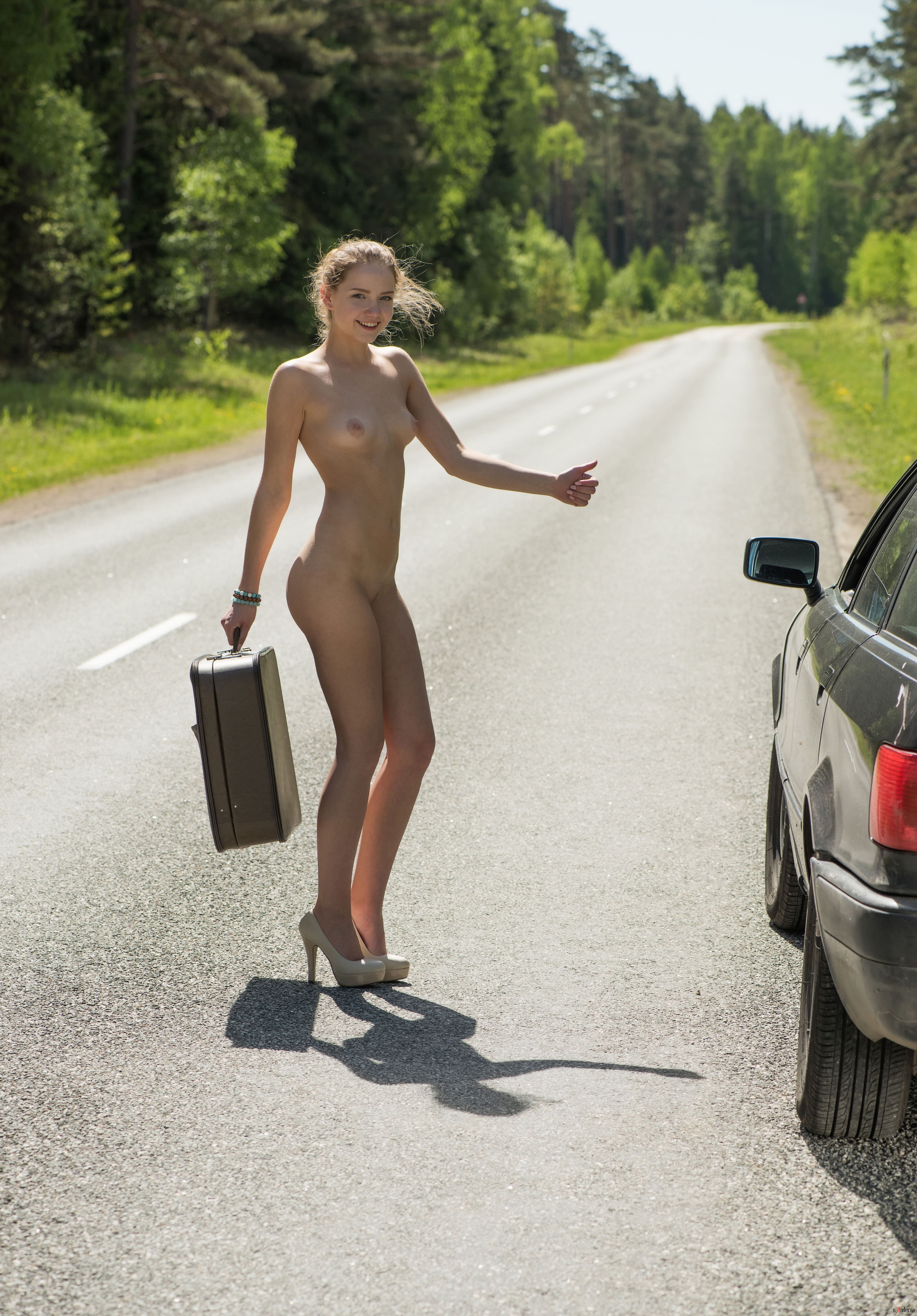 Hitchhiker stock photo footage