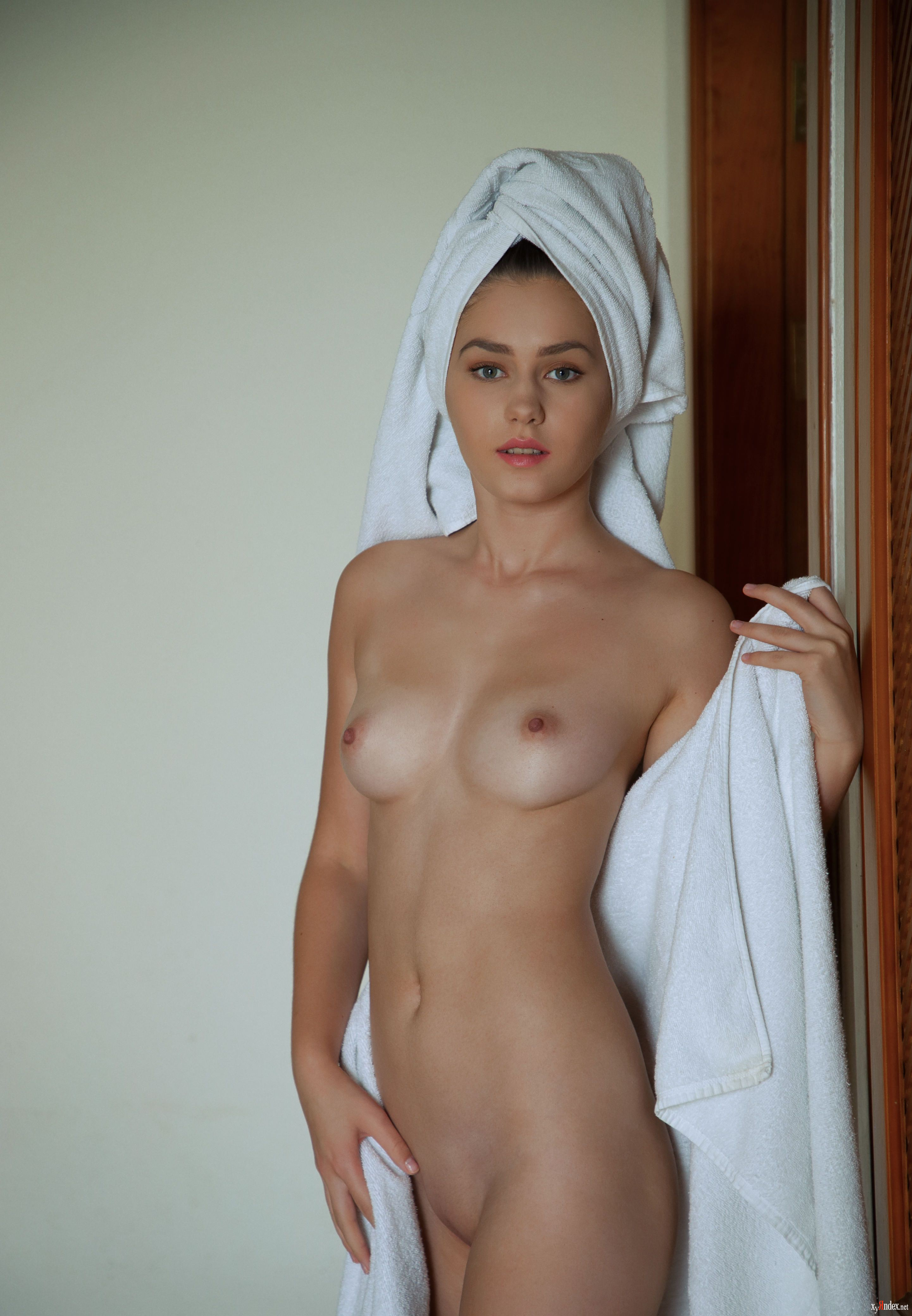 Beautiful nude sexy lady in elegant pose beach towel for sale by galina tcivina